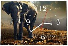 LAUTLOSE Designer Tischuhr Afrika Elefant braun