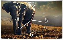 LAUTLOSE Designer Wanduhr Afrika Elefant braun