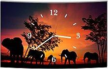 LAUTLOSE Designer Wanduhr Afrika Elefant Elefanten