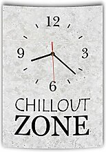 LAUTLOSE Designer Wanduhr mit Spruch Chillout Zone