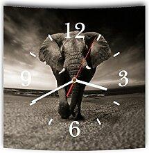 LAUTLOSE Designer Wanduhr mit Spruch Elefant