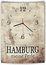 LAUTLOSE Designer Wanduhr mit Spruch Hamburg meine