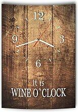 LAUTLOSE Designer Wanduhr mit Spruch It is Wine