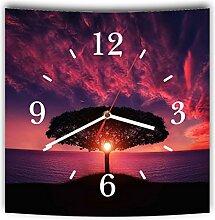 LAUTLOSE Designer Wanduhr mit Spruch Sonnenuntergang Wasser Baum lila Wasser Meer grau weiß modern Dekoschild Abstrakt Bild 29,5 x 28cm