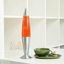 Lavalampe 42cm Orange Glitterleuchte E14 25W