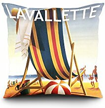 Lavallette, New Jersey - Beach Chair and Ball (16x16 Spun Polyester Pillow Case, White Border)