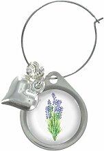 Lavendel Blumen Bild Design WEINGLAS ANHÄNGER MIT FANCY PERLEN
