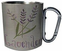 Lavendel Edelstahl Karabiner Reisebecher 11oz