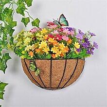 Lavendel-Emulation Blumen-Eisen gewebte Blumen-Korb-Klage-Wand-Dekoration-Ausgangsdekorative Pflanze-kreative Garten-Verzierung,H/H*W :28*30cm