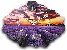 Lavendel Luxus Designer Wanduhr Funkuhr aus Schiefer *Made in Germany leise ohne ticken WS210FL