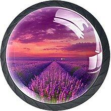 Lavendelfeld, 4Pack ABS Kommode Knöpfe Schrank