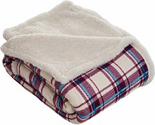 Lavish Home Überwurf Decke – Fleece/Sherpa plaid