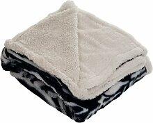 Lavish Home Überwurf Decke–Fleece/Sherpa zebra