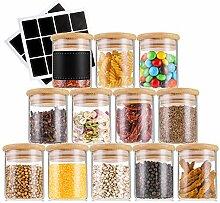 Lawei 12 Stück Glas-Gewürzgläser mit