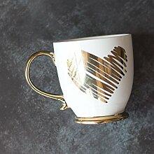 Laxba Kaffeetasse Goldener Griff Becher Herz Brief