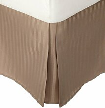 laxlinens 200Fadenzahl 100% Baumwolle elegant Finish 1Box Bundfaltenhose Bett Rock (Drop Länge: 38,1cm) Single lang, beige gestreif