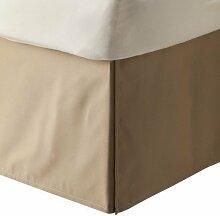 laxlinens 200Fadenzahl 100% Baumwolle elegant Finish 1Box Bundfaltenhose Bett Rock (Drop Länge: 38,1cm) UK Double, taupe