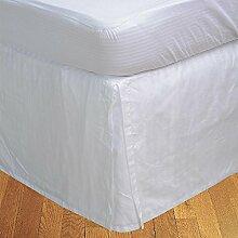laxlinens 250Fadenzahl 100% Baumwolle elegant Finish 1Box Bundfaltenhose Bett Rock (Drop Länge: 66cm) Einzelbett Großbritannien, Weiß gestreif