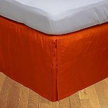 laxlinens 250Fadenzahl Elegantes Finish 1Box Bundfaltenhose Bett Rock (Drop Länge: 38,1cm) UK Single, Orange 100% Baumwolle