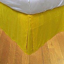 laxlinens 300Fadenzahl Elegantes Finish 1Box Bundfaltenhose Bett Rock (Drop Länge: 38,1cm) UK Single, gelb 100% Baumwolle
