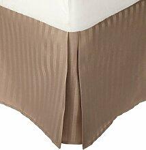 laxlinens 350Fadenzahl 100% Baumwolle elegant Finish 1Box Bundfaltenhose Bett Rock (Drop Länge: 66cm) UK Double, beige gestreif