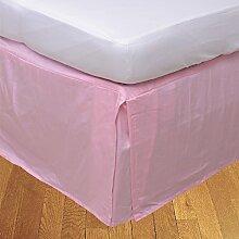 laxlinens 350Fadenzahl 100% Baumwolle elegant Finish 1Box Bundfaltenhose Bett Rock (Drop Länge: 66cm) Single lang, pink massiv