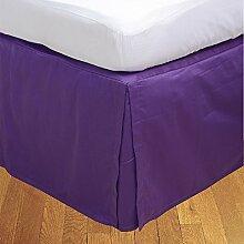 laxlinens 350Fadenzahl Elegantes Finish 1Box Bundfaltenhose Bett Rock (Drop Länge: 38,1cm) Einzelbett Großbritannien, lila 100% Baumwolle