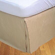 laxlinens 400Fadenzahl 100% Baumwolle elegant Finish 1Split Ecke Bett Rock (Drop Länge: 66cm) Euro King, taupe gestreif