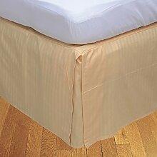 laxlinens 500Fadenzahl 100% Baumwolle elegant Finish 1Split Ecke Bett Rock (Drop Länge: 66cm) UK Single, Pfirsich Stripe