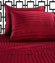 laxlinens Ägyptische Baumwolle Fadenzahl 4006Bett Blatt Set (+ 76,2cm) Extra tief Pocket Euro groß Single, roten Streifen