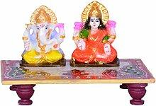 laxmi-ganesha & Chowki Marmor Finish Statue Idol