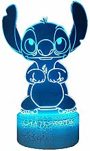 Laysinly Lovely Stitch 3D LED Nachtlicht, Cartoon