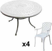 Lazy Susan - ALICE 120 cm Runder Gartentisch mit 4 Stühlen - Gartenmöbel Set aus Metall, Weiß (EMMA Stühle)
