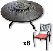 Lazy Susan - AMELIA 150 cm Runder Gartentisch mit 6 Stühlen - Gartenmöbel Set aus Metall, Antik Bronze (MARY Stühle, Terracotta Kissen)