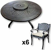 Lazy Susan - AMELIA 150 cm Runder Gartentisch mit 6 Stühlen - Gartenmöbel Set aus Metall, Antik Bronze (KATE Stühle, Beige Kissen)