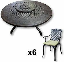 Lazy Susan - AMELIA 150 cm Runder Gartentisch mit 6 Stühlen - Gartenmöbel Set aus Metall, Antik Bronze (ROSE Stühle, Grüne Kissen)