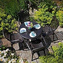 Lazy Susan - ANNA 80 cm Runder Gartentisch mit 4 Stühlen - Gartenmöbel Set aus Metall, Antik Bronze (ROSE Stühle)