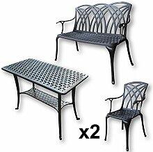 Lazy Susan - BBQ Grillparty Beistelltisch mit 1 APRIL Gartenbank und 2 APRIL Stühlen - Gartenmöbel Set aus Metall, Antik Bronze