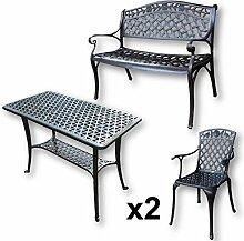 Lazy Susan - BBQ Grillparty Beistelltisch mit 1 ROSE Gartenbank und 2 ROSE Stühlen - Gartenmöbel Set aus Metall, Antik Bronze
