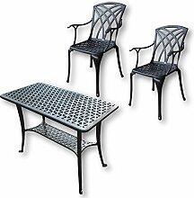 Lazy Susan - BBQ Grillparty Beistelltisch mit 2 APRIL Stühlen - Gartenmöbel Set aus Metall, Antik Bronze