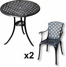 Lazy Susan - BETTY Bistrotisch mit 2 Stühlen - Rundes Gartenmöbel Set aus Metall, Antik Bronze (EMMA Stühle)
