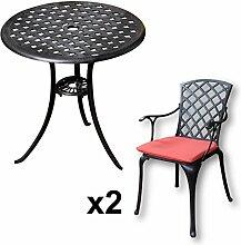 Lazy Susan - BETTY Bistrotisch mit 2 Stühlen - Rundes Gartenmöbel Set aus Metall, Antik Bronze (EMMA Stühle, Terracotta Kissen)