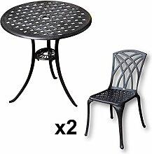 Lazy Susan - BETTY Bistrotisch mit 2 Stühlen - Rundes Gartenmöbel Set aus Metall, Antik Bronze (MAY Stühle)