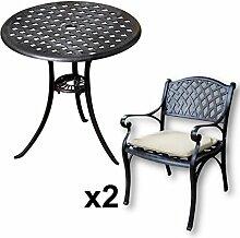 Lazy Susan - BETTY Bistrotisch mit 2 Stühlen - Rundes Gartenmöbel Set aus Metall, Antik Bronze (KATE Stühle, Beige Kissen)