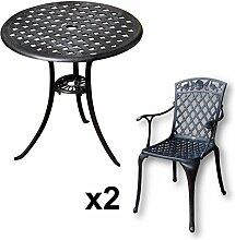 Lazy Susan - BETTY Bistrotisch mit 2 Stühlen - Rundes Gartenmöbel Set aus Metall, Antik Bronze (ROSE Stühle)
