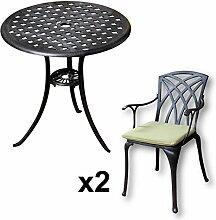 Lazy Susan - BETTY Bistrotisch mit 2 Stühlen - Rundes Gartenmöbel Set aus Metall, Antik Bronze (APRIL Stühle, Grüne Kissen)