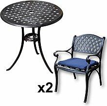 Lazy Susan - BETTY Bistrotisch mit 2 Stühlen - Rundes Gartenmöbel Set aus Metall, Antik Bronze (KATE Stühle, Blaue Kissen)