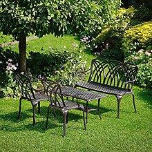 Lazy Susan - CLAIRE Rechteckiger Garten Beistelltisch mit 1 APRIL Gartenbank und 2 APRIL Stühlen - Gartenmöbel Set aus Metall, Antik Bronze