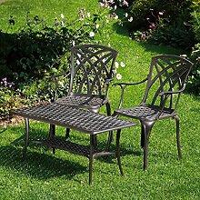 Lazy Susan - CLAIRE Rechteckiger Garten Beistelltisch mit 2 APRIL Stühlen - Gartenmöbel Set aus Metall, Antik Bronze
