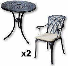 Lazy Susan - ELLA 60 cm Bistrotisch mit 2 Stühlen